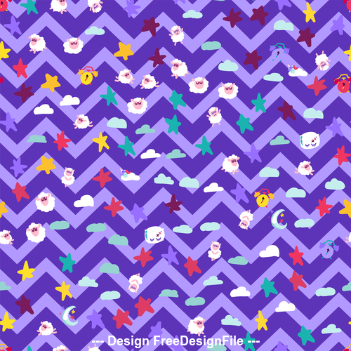 Good night cartoon purple wavy seamless background vector
