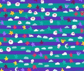 Good night sheep cartoon seamless patterns vector