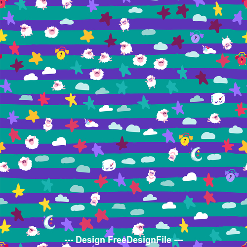 Good night sheep cartoon seamless patterns vector