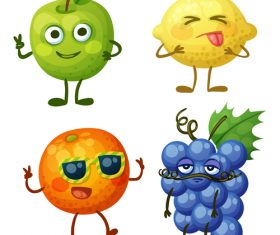 Grapes apples etc cartoon emoticons vector