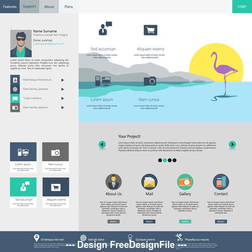 Gray website templates vector