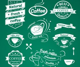 Green background coffee shop logo vector
