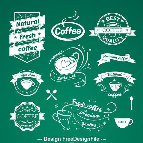Green background coffee shop logo vector