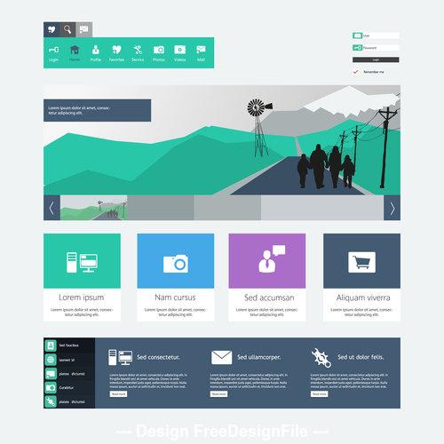 Green travel website templates vector