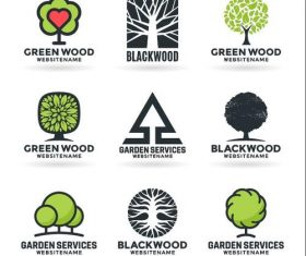 Green wood icons vector