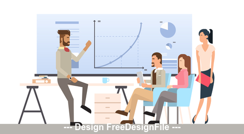 Group meeting template illustration vector