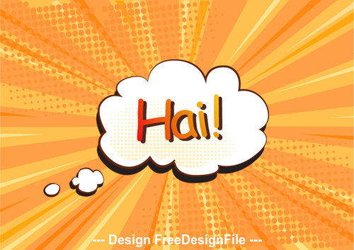 Hai Comic cartoon background vector