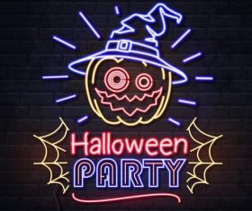 Halloween party neon illustration vector