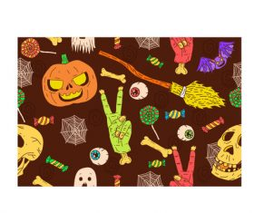 Halloween pattern cartoon background vector