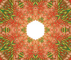 Hand doodle ethnic red and green floral vector