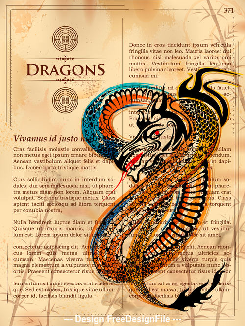 Hand drawn dragon in book page vector