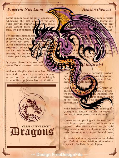 Hand drawn dragon vector