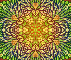 Hand drawn ethnic beige and green floral vector