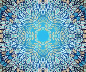 Hand drawn ethnic blue floral vector