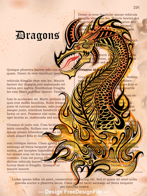 Hand drawn furious dragon vector