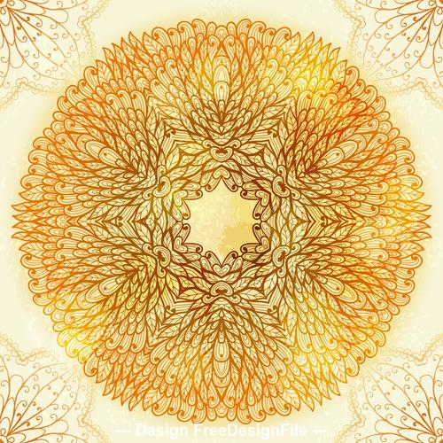 Handdrawn ethnic beige floral vector