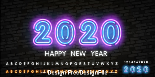 Happy 2020 new year black wall background vector