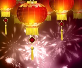 Happy China New Year and shimmering lanterns vector