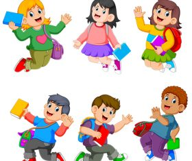 Happy children cartoon illustration vector