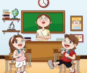 Happy classroom cartoon illustration vector