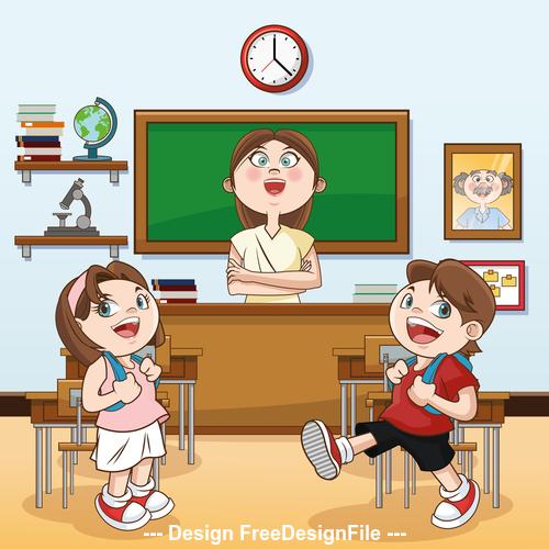 Happy classroom cartoon illustration vector