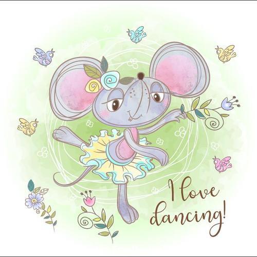 Happy dancing cartoon vector