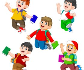 Happy little boys cartoon illustration vector