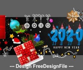 Happy new year 2020 greeting card banner vector