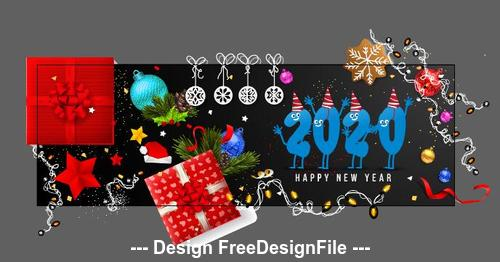 Happy New Year 2020 Greeting Card Banner Vector Free Download