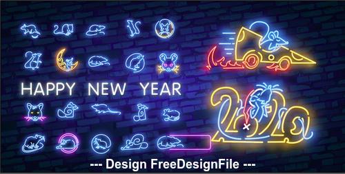 Happy rat new year 2020 vector