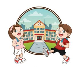 Happy school cartoon illustration vector