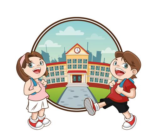 Happy school cartoon illustration vector