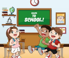 Happy students in the classroom vector