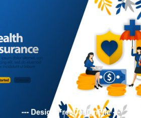 Health insurance business template vector