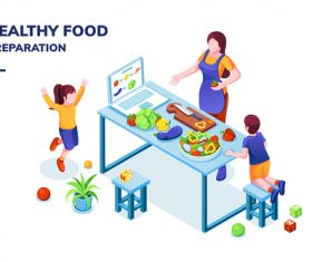 Healthy food illustration vector