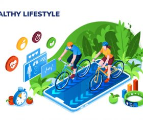 Healthy life sports illustration vector