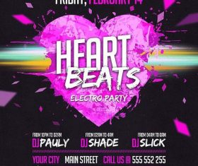 Heart Beats Party PSD Flyer template and Facebook Cover
