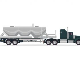 Heavy industrial trailer truck vector