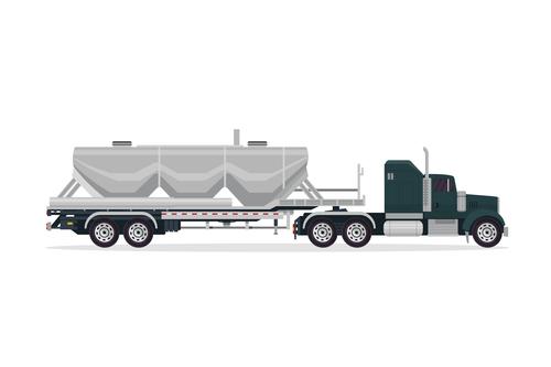 Heavy industrial trailer truck vector