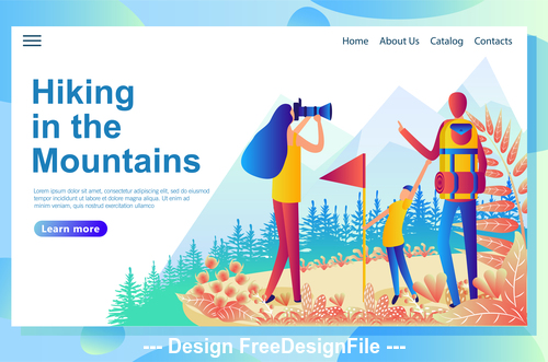 Hiking in the mountains illustration vector