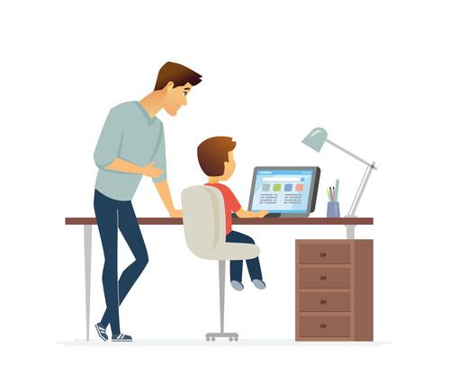 Homework cartoon people characters illustration vector