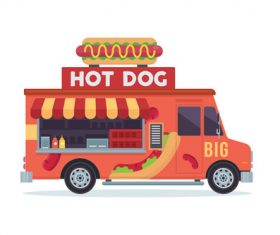 Hot dog sale truck illustration vector