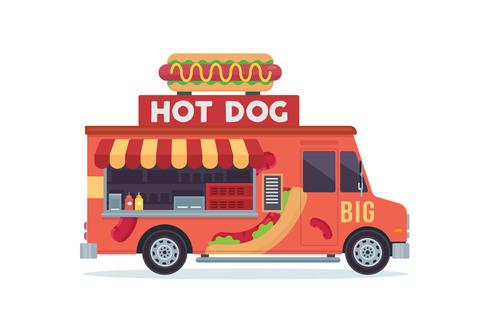 Hot dog sale truck illustration vector