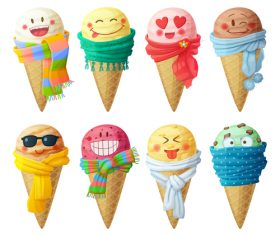 Ice cream amusing cheerful cartoon vector