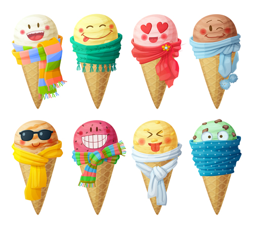 Ice cream amusing cheerful cartoon vector