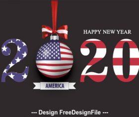 Illustration USA 2020 merry christmas vector