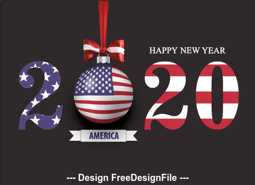 Illustration USA 2020 merry christmas vector free download