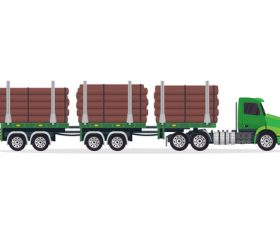 Industrial trailer truck green vector