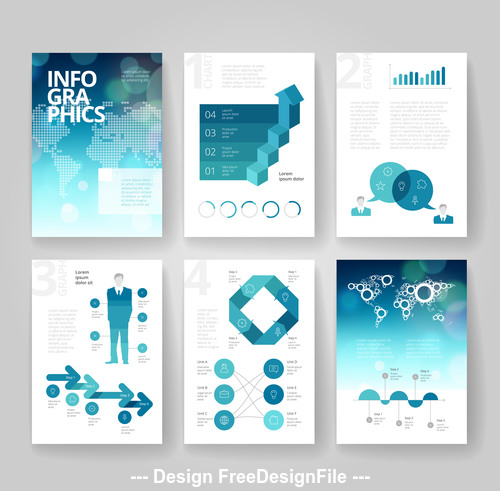Infographics brochure blue bokeh world vector