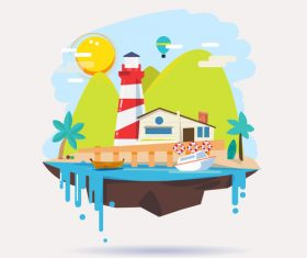 Island cartoon illustration vector